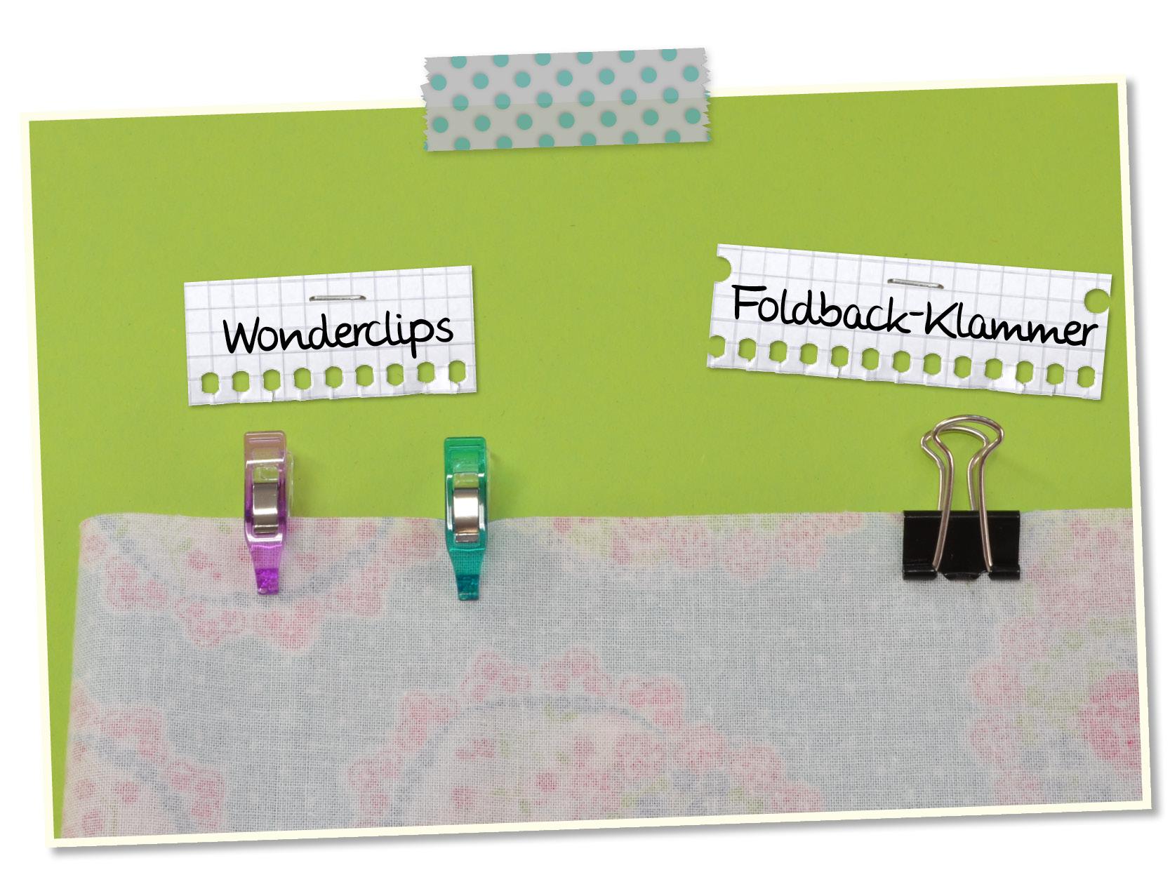 Nählexikon, Nähen, Nähzimmer, Nähen für Anfänger, Gratisanleitung, Wonder-Clips, Foldback